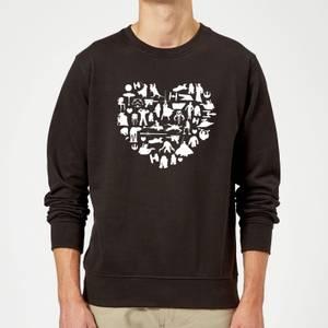 Star Wars Valentine's Heart Montage Sweatshirt - Black