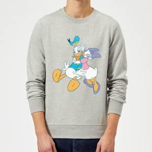 Disney Mickey Mouse Donald Daisy Kiss Sweatshirt - Grey