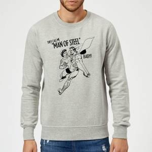 DC Comics Superman Valentines Steel Baby Sweatshirt - Grey