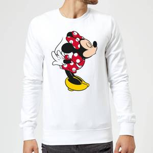 Disney Mickey Mouse Minnie Split Kiss Sweatshirt - White