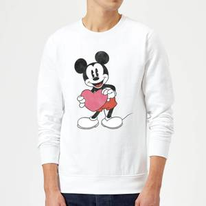 Disney Mickey Mouse Heart Gift Sweatshirt - White