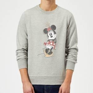 Disney Mickey Mouse Minnie Mouse Offset Sweatshirt - Grey