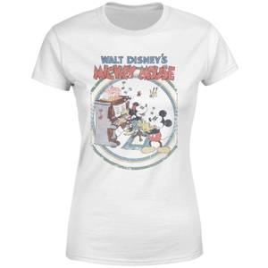 T-Shirt Femme Mickey & Minnie Mouse Piano Rétro (Disney) - Blanc
