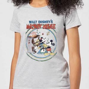 T-Shirt Femme Mickey & Minnie Mouse Piano Rétro (Disney) - Gris