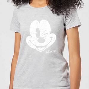 Disney Mickey Mouse Worn Face Women's T-Shirt - Grey