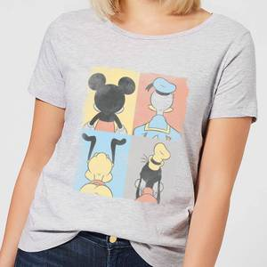 Disney Mickey Mouse Donald Duck Mickey Mouse Pluto Goofy Tiles Women's T-Shirt - Grey