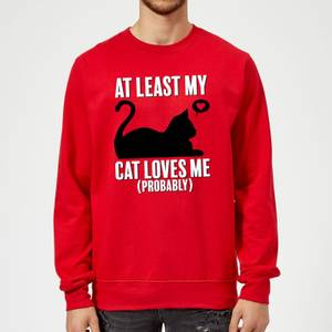 At Least My Cat Loves Me Sweatshirt - Red