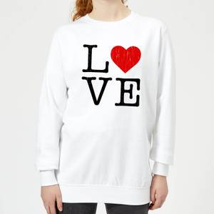 Love Heart TextuRot Frauen Pullover - Weiß
