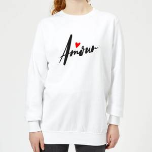 Amour Script Frauen Pullover - Weiß