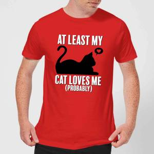 At Least My Cat Loves Me T-Shirt - Red