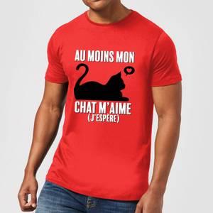 Au Moins Mon Chat M'aime J'espere T-Shirt - Red