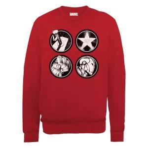 Marvel Avengers Assemble Main Logos Sweatshirt - Red