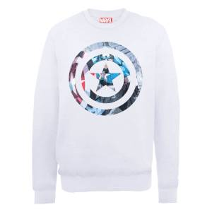 Sweat Homme Marvel Avengers Assemble - Captain America Montage - Blanc