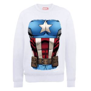 Sweat Homme Marvel Avengers Assemble - Torse Captain America - Blanc