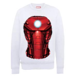 Sweat Homme Marvel Avengers Assemble - Torse Iron Man Explosion - Blanc