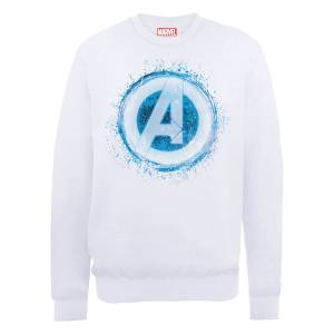 Sweat Homme Marvel Avengers Assemble - Logo Brillant - Blanc