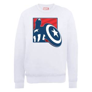 Sweat Homme Marvel Avengers Assemble - Captain America Badge - Blanc