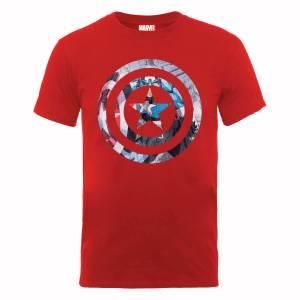 T-Shirt Homme Marvel Avengers Assemble - Bouclier Captain America Montage - Rouge