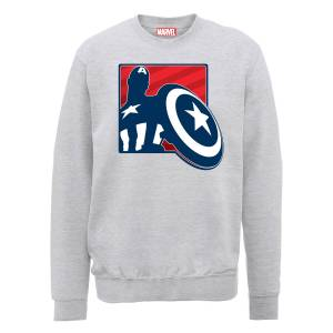Sweat Homme Marvel Avengers Assemble - Captain America Badge - Gris