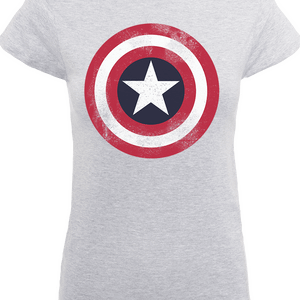 Marvel Avengers Assemble Captain America Distressed Shield Women's T-Shirt - Grau