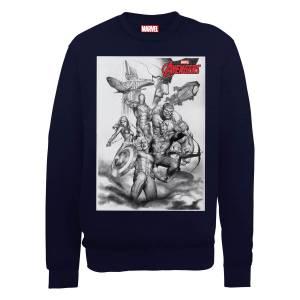 Marvel Avengers Assemble Team Sketch Sweatshirt - Black