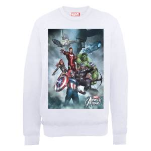 Marvel Avengers Assemble Team Montage Sweatshirt - White