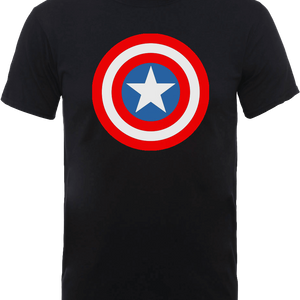 Marvel Avengers Assemble Captain America Simple Shield T-Shirt - Black