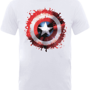 Marvel Avengers Assemble Captain America Art Worded Shield Badge T-Shirt - White