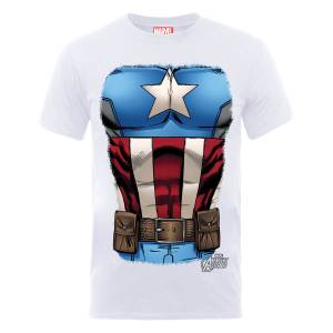 Marvel Avengers Assemble Captain America Chest T-Shirt - Weiß