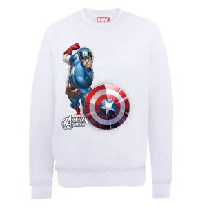 Sweat Homme Marvel Avengers Assemble - Captain America Comic Explosion - Blanc