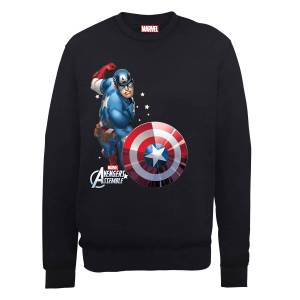 Marvel Avengers Assemble Captain America Comic Burst Sweatshirt - Black