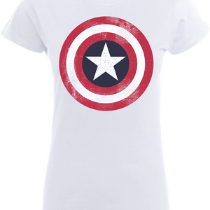 Marvel Avengers Assemble Captain America Distressed Shield Dames T-shirt - Wit