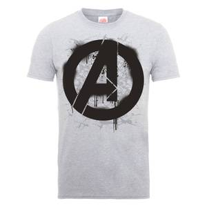 T-Shirt Marvel Avengers Assemble Logo Stencil - Grigio