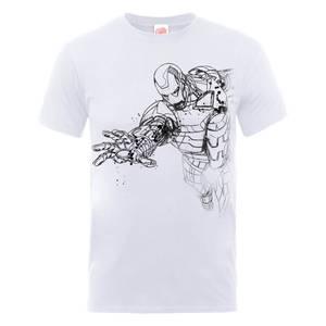 Marvel Avengers Assemble Iron Man Schets T-shirt - Wit