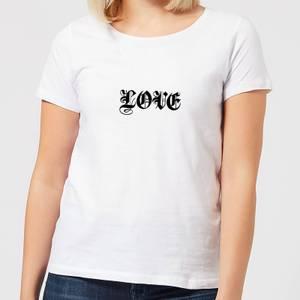 Love Gothic Text Women's T-Shirt - White