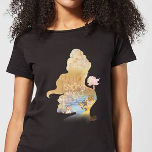 Disney Beauty And The Beast Princess Filled Silhouette Belle Women's T-Shirt - Black