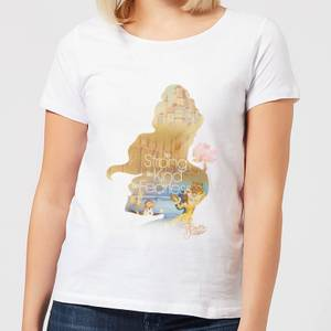 Disney Beauty And The Beast Princess Filled Silhouette Belle Women's T-Shirt - White