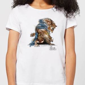 Disney Beauty And The Beast Sketch Women's T-Shirt - White
