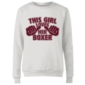 This Girl Loves Her Boxer Women's Sweatshirt - White