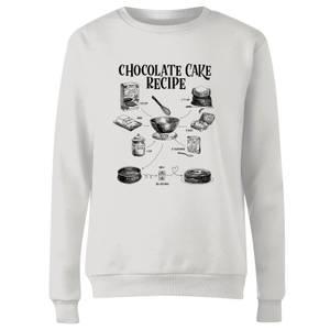 Chocolate Cake Recipe Women's Sweatshirt - White