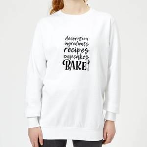 Baking Words Women's Sweatshirt - White