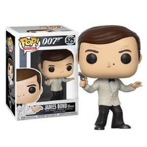 James Bond Roger Moore in White Tuxedo Figura Pop! Vinyl