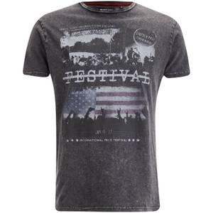 Brave Soul Men's Gig T-Shirt - Dark Charcoal Wash