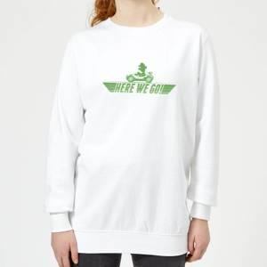 Nintendo Mario Kart Here We Go Luigi Women's Sweatshirt - White