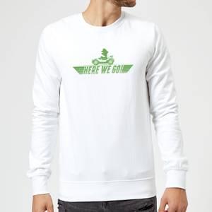 Sweat Homme Mario Kart Here We Go Luigi - Nintendo - Blanc