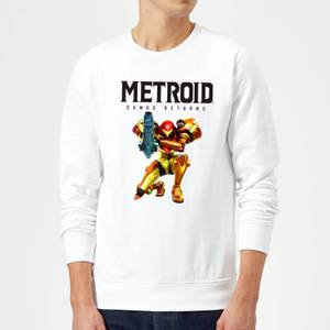 Sweat Homme Super Metroid (Nintendo) Samus Returns - Blanc