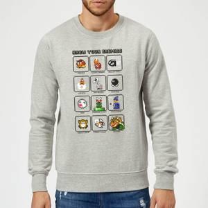 Nintendo Super Mario Know Your Enemies Sweatshirt - Grey