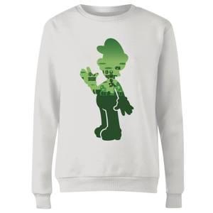 Felpa Nintendo Super Mario Luigi Silhouette - Bianco - Donna