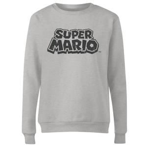 Nintendo Super Mario Distressed Logo Women's Sweatshirt - Grey