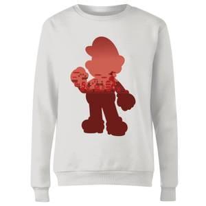 Nintendo Super Mario Mario Silhouette Women's Sweatshirt - White